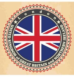 Vintage label cards of united kingdom flag vector