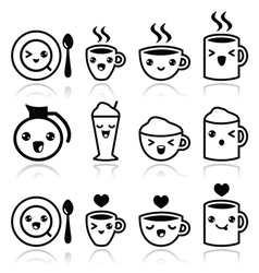 Cute coffee cappuccino and espresso kawaii icons vector