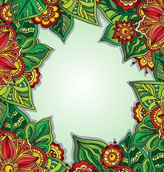 Template with colorful flowers and leaves for vector