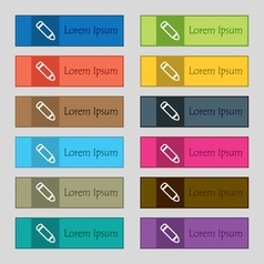 Pen icon sign set of twelve rectangular colorful vector