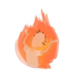 Man on fire icon cartoon style vector