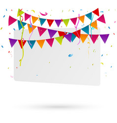 Birthday bunting flags with confetti vector image