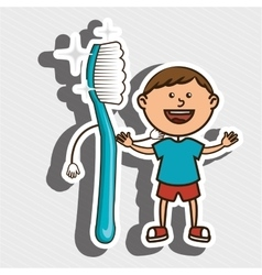 Child with toothbrush isolated icon design vector