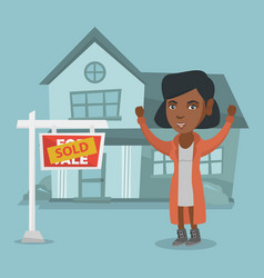 african real estate agent with sold placard vector image vector image