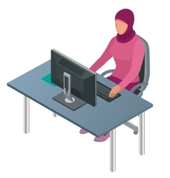 Arab woman muslim woman asian woman working in vector