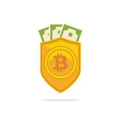 Bitcoin trust symbol on the shield line icon vector
