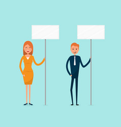 businessman and businesswoman holding signboard vector image