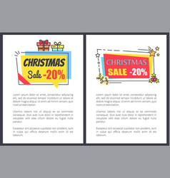 Christmas sale -20 off banners with text adverts vector