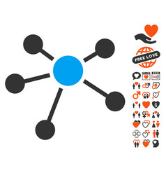 Connections icon with love bonus vector