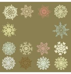 Cute Retro Snowflakes EPS 8 vector image vector image