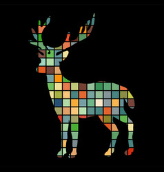 Deer woodland color silhouette animal vector