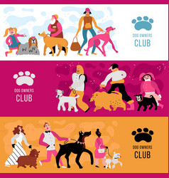 dog owners horizontal banners vector image