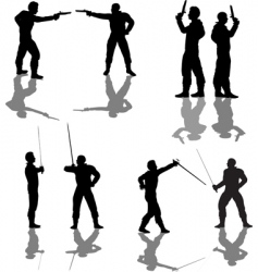 duelist silhouettes vector image vector image