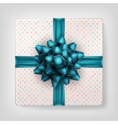 Gift box with blue ribbon bow EPS 10 vector image