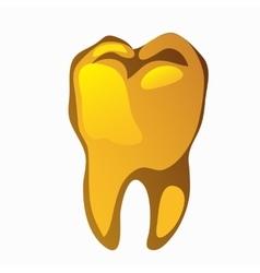 Golden human tooth molar closeup vector image vector image