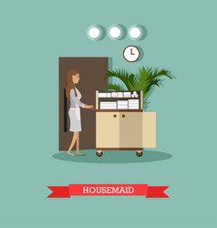 Hotel housemaid in flat style vector