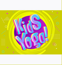 Kids yoga background in cartoon style bright vector