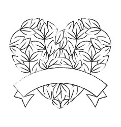 leaves in heart shape icon vector image vector image