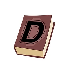 Letter d on e cover of book old edition with vector