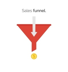 Sales lead funnel flat icon with arrows for vector