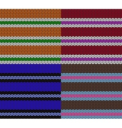set of striped knitting patterns vector image