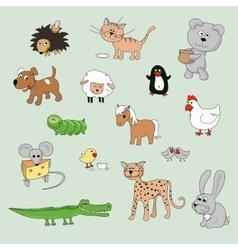 set of various cartoon animals and birds vector image