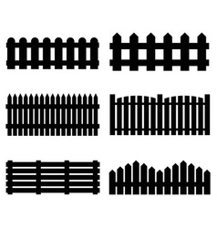 silhouette black fence icon set vector image vector image
