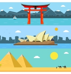 Skylines design with landmarks Japan Australia vector image vector image