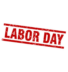 Square grunge red labor day stamp vector