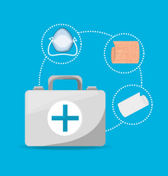 suitcase with medical mask and gauze tool vector image