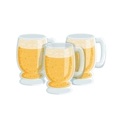 Three pints of foamy lager beer oktoberfest vector