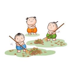 Three thai kids sweep the leaves on the ground vector
