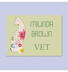 Vintage business card for vet vector