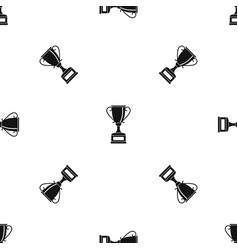 winning gold cup pattern seamless black vector image vector image