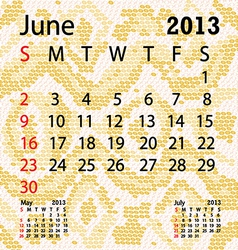 june 2013 calendar albino snake skin vector image