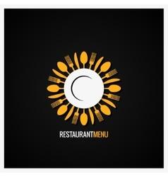 Food logo fork and knife label background vector