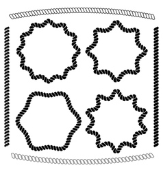 set of frames hexagonal and rounded imitating rope vector image
