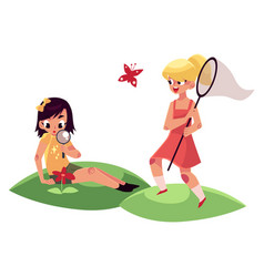 Two girls having fun in summer catching vector