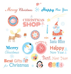 Christmas set with different elements vector