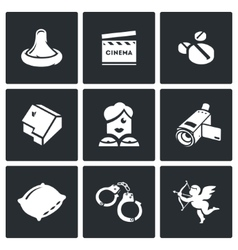 Erotic movies icons set vector