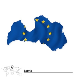 Map of latvia with european union flag vector