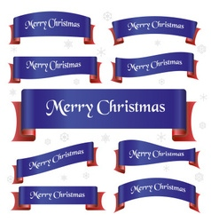 Blue and red merry christmas curved ribbon banners vector