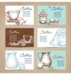 Vintage coffee cards banners set vector