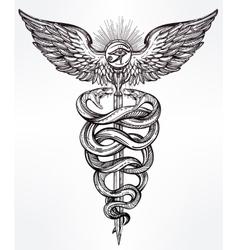 Caduceus symbol of god mercury vector