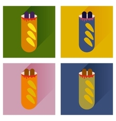 Set flat icons hot dog sausage double vector