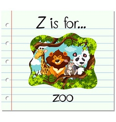 Flashcard letter z is for zoo vector