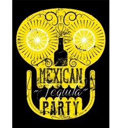 Retro grunge mexican tequila party poster vector