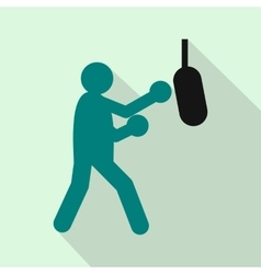 Boxer hitting the punching bag icon flat style vector