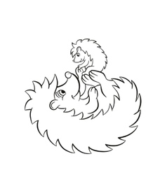 The hedgegoh holds baby on the paws vector