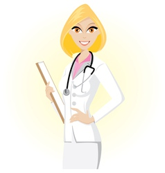 blonde doctor vector image